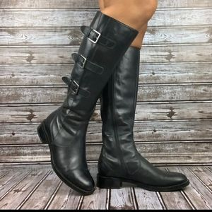 ECCO Black Leather Hobart Buckle Boots gore-tex